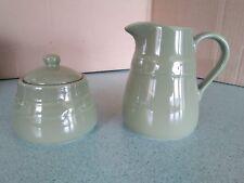 Longaberger Pottery Cottage Creamer & Sugar Bowl & lid Sage green New