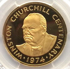 Turks Caicos 1974 Churchill PCGS PR67 Gold Coin,Proof