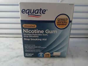 Equate Uncoated 2mg Nicotine Gum . 170 pieces .