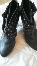 Brown Shoe Booties With Criss Cross Belt w/ Metal Studs Buckle 3 Inch Heel Sz 8