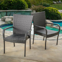 Patio Dining Chair Gray Stackable Wicker Outdoor Weather Resistant (Set of 2)
