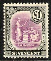 St Vincent 1913 mauve/black £1 multi-crown mint SG120