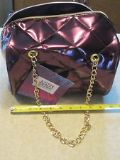 "NEW!JUSTIN BIEBER Women,PURPLE QUILTED PURSE TOTE BAG GOLD CHAIN 10""Lx7""x5 1/2""W"