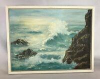 VTG Small Painting Rocky Seascape Art Board Signed Framed Wood Landscape Waves