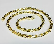 """18kt Solid Yellow Gold Handmade Link Men's Chain/Necklace 28"""" 108 grams 5.5MM"""