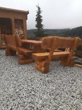 Massivholz Sitzgruppe XXL Sitzgarnitur Gartenmöbel Gartengarnitur Holz Rustikal