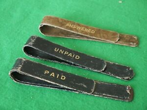3 LARGE METAL & LEATHER VINTAGE STATIONERY PAPER INVOICE BILL CLIP PAID UNPAID