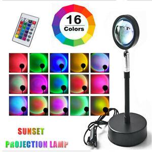 Rainbow Sunset Projection Lamp LED Modern Romantic Remote Control Light 16Colors