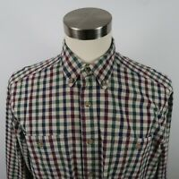 Wrangler Mens LS Button Down Red Green Blue Beige Plaid Casual Shirt L 16-16.5