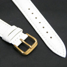 White Genuine Leather Watch Strap Band 20mm with Gold Buckle