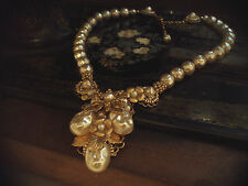 Vintage Jewellery Gold Flower, Leaf Baroque Pearl, seed beads Necklace, Haskell