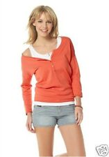 Flashlights Pullover Strick Shirt  36 /38 ,  3/4 Arm Knopfleiste NEU , Koralle