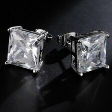 Womens Women Square Fashion Stud Earring Earrings White Gold Filled Mens