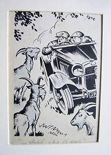 Illustrateurs motoring motor magazine tant défaut trois chèvres george lane encre 1940s
