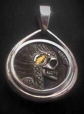 Coalburn  Hobo Nickel chief skull Grateful Dead 24k gold inlay sterling jewelry