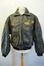 VINTAGE REDSKINS TERRITOIRE DISTRESSED LEATHER FLIGHT JACKET SIZE XL