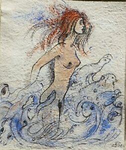 DRAWING surreal nude fantasy HANDMADE PAPER, ALIVE SEA original Dora Pilssala