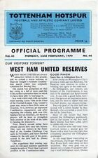 Reserves Teams S-Z West Ham United Football Programmes