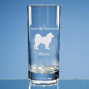 Alaskan Malamute Dog Lover Gift Personalised Hand Engraved Highball Glass