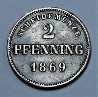 Bayern 2 Pfennig 1869 München, König Ludwig II,Bavaria - vz / xf