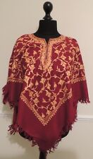 Kashmir Poncho Maroon with Gold - New - India - Ethnic (item xp10b)