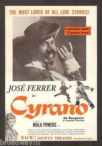 "Jose Ferrer ""CYRANO de BERGERAC"" Mala Powers / Edmond Rostand 1950 Movie Flyer"