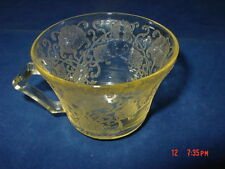 Vintage Hazel Atlas Depression Glass Cup Floretine Pattern Yellow