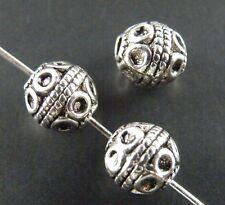 60pcs Tibetan Silver Ball Shaped Spacer Beads 7.5x7.5mm 8700