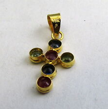 18K GOLD Sapphire and Ruby Cross Pendant