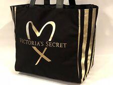 VICTORIA'S SECRET BLACK / GOLD STRIPED -SIDES XL GORGEOUS  NO-ZIP WEEKENDER BAG
