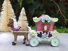 Miniatura Giardino Mini Villaggio ~ Neve Fata Frozen Natale Cavallo e Carrello