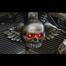 Wing Skull Horn Cover.Aged Aluminum LIGHTED EYES. Harley Davidson. SKU-WAL-1