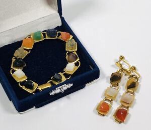 Vintage Tennis Bracelet & Screw Back Earrings Set Gold Tone & Coloured Crystals