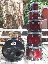 DW Collectors 7pc ~ 3 floor toms ~ Raspberry fade