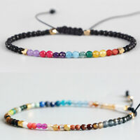 Fashion 12 Constellation Lucky Stone Bracelet 3mm Beads Chakra Boho Bracelets