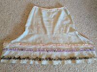 *J.Jill* sz 16 tan peach lavender olive linen embroidered ruffle boho skirt VGC