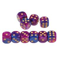 10x Acrylic D6 Spotted Dices Six Sided Purple Blue for Dungeons and Dragons