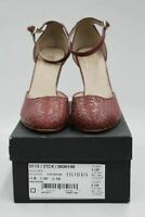 HOBBS Ladies Red Clay Brown High Heel Basket Weave Tiggy Shoes UK8 BNIB