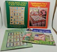 Lot of (4) Sunbonnet Quilt Pattern Books - Family, Neighborhood, Visits & Blocks