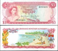 BAHAMAS 3 DOLLARS L. 1968 P 28 AU-UNC