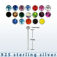 2pcs.of color  22g ~1.5mm Round Flat C.Z .925 Sterling Silver Straight Nose Stud