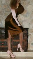 XL 50 C TIGHT OLIVE BROWN SHEER LACE VINTAGE LINGERIE SATIN FULL GIRDLE BRA SLIP