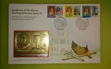 Royal Selangor Pewter Gold Gilded 925 Silver Stamp FDC 1999 Yang Dipertuan Agong