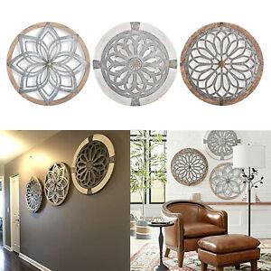 Rustikales Wandobjekt Metall Holz Runde Wandkunst Wanddeko Wohnzimmer 40cm