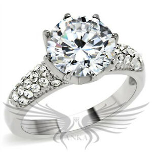 SS BRILLIANT RUSSIAN LAB CREATED SIM DIAMOND SOLITAIRE ENGAGEMENT RING TK197