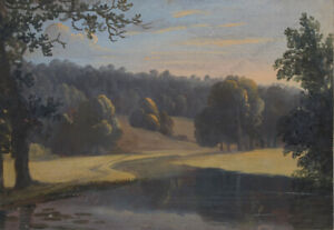 """Romantic Landscape"", English School, Gouache, Early 19th Century"
