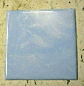 "Pittsburgh USA Pale Sky Blue Marbled 4-1/4"" Plastic Polystyrene 1 Wall Tile Vtg"