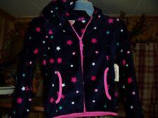 FADED GLORY GIRLS JACKET SIZE XS 4-5 STAR DESIGN BLACK PINK FUR LINING COAT NEW