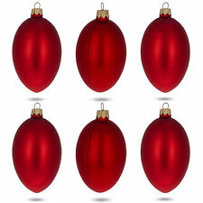 Set of 6 Red Matte Glass Egg Ornaments 4 Inches