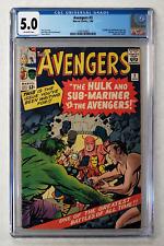 AVENGERS #3 CGC 5.0 HULK SUB-MARINER TEAMUP 1964 FANTASTIC FOUR X-MEN SPIDER-MAN